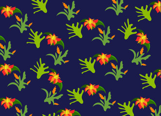 tropical background, flowers and leaves