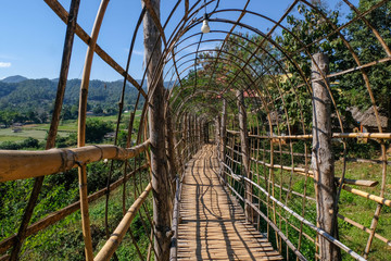 wooden bamboo bridge beautiful hand make bridge at Su Tong Pae Mae Hong Son Thailand