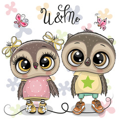 Two Cute Owls on a flowers background