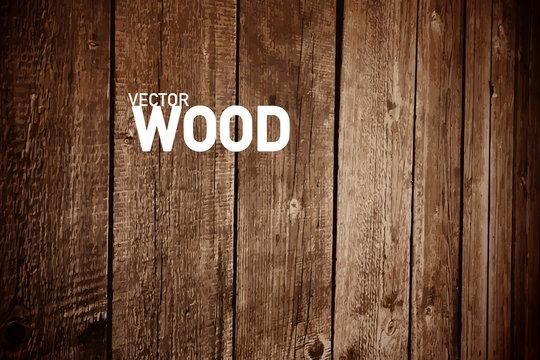 Wooden Vector Background. Dark Wood Backdrop for Creative Designs.