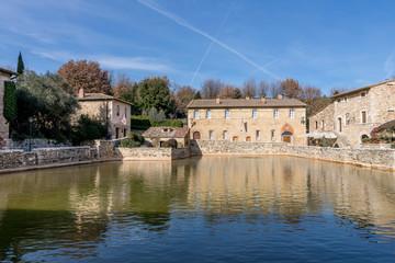 The characteristic medieval spa village of Bagno Vignoni, Siena, Tuscany, Italy