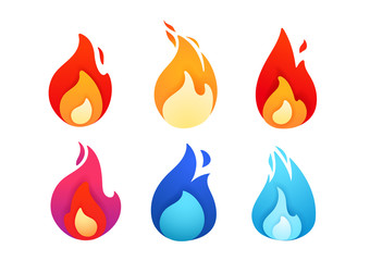 Vivid color abstract geometric flames collection