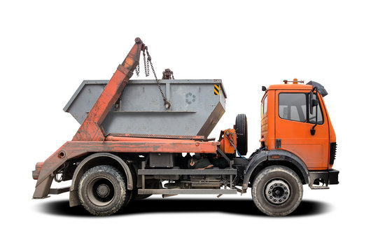 Industrial Waste Dumpster Truck side view isolated on white