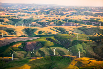 Large windmills at sunset near the Snake River in eastern Washington.