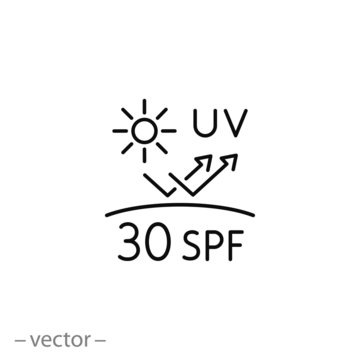 uv protect icon, spf 30 linear sign on white background - vector illustration eps10