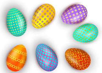 Set of colorful Easter eggs isolated on white background. Vector illustration