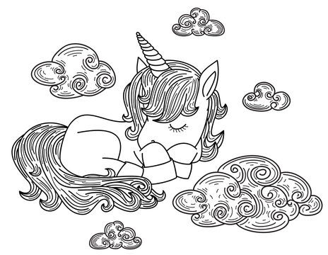 Vector cute, sleeping  unicorn with clouds, black silhouettes for coloring.