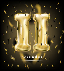 Festive rating roman digit two, gold balloon and foil confetti