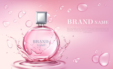 Vector 3d realistic poster, banner with perfume bottle, oil splashing or water drops. Shiny glass container with pink liquid. Cosmetic background for ad poster, promo banner. Floral essence, mock up.