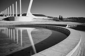 Black and white infrared photo,Spain, Barcelona, Plaza Europe