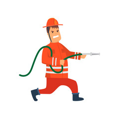 Firefighter Wearing Orange Protective Uniform and Helmet Running with Fire Hose, Cheerful Professional Male Freman Cartoon Character Doing His Job Vector Illustration