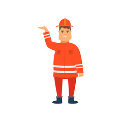 Firefighter Wearing Orange Protective Uniform and Helmet Standing with Raised Hand, Cheerful Professional Male Freman Cartoon Character Doing His Job Vector Illustration