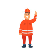 Firefighter Wearing Orange Protective Uniform and Helmet Holding Up His Index Finger, Cheerful Professional Male Freman Cartoon Character Doing His Job Vector Illustration