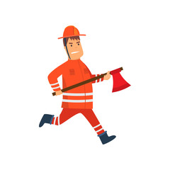 Firefighter Wearing Orange Protective Uniform and Helmet Running with Axe, Cheerful Professional Male Freman Cartoon Character Doing His Job Vector Illustration