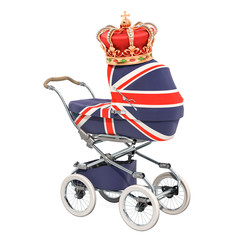 Royal baby concept. Baby stroller with Britain flag texture and golden crown. 3D rendering