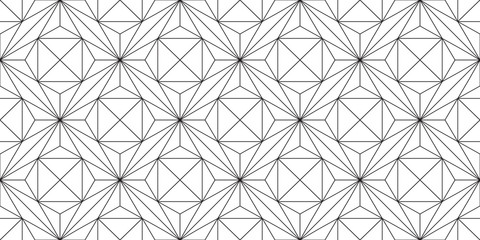 Seamless stars, geometric pattern of the thin straight lines, grid of fine black lines on a white background, crystal structure.