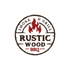 Vintage Rustic Barbeque Logo design