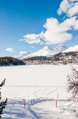 St. Moritz, Dorf, St. Moritzersee, Winterwanderweg, Winter, Wanderung, Wintersport, Oberengadin, Alpen, Graubünden, Schweiz