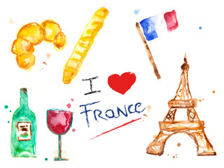 Set aquarelle watercolor France collection with pastry, baguette, flag, tower and wine