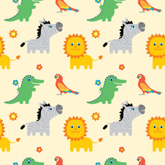 Seamless pattern with cute cartoon african animals. Zebra, parrot, crocodile, lion. Vector illustration in childrens style.