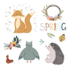 Spring set with flowers, fox, owl, hedgehog, bird, ladybug, dragonfly