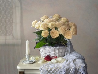 Still life with splendid bouquet of white roses