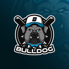 dog vector mascot logo design with modern illustration concept style for badge, emblem and tshirt printing. bulldog illustration for sport team.