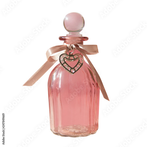 A Glass Gift Bottle For A Woman With A Bow Of Silk Ribbon And A