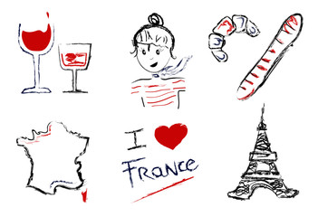Set icons France with glass of red wine, parisian girl, pastry, croissant, baguette, map of France, text and tour Wall mural