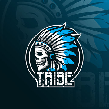 indian tribe skull vector mascot logo design with modern illustration concept style for badge, emblem and tshirt printing. skull indian tribe illustration.