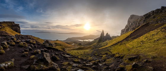 Foto op Canvas Bleke violet The Landscape Around the Old Man of Storr and the Storr Cliffs, Isle of Skye, Scotland, United Kingdom