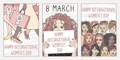 Set of three hand drawn posters or postcards for international women's day, showing portraits of diverse women Wall mural