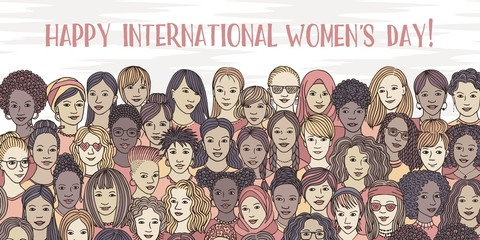 Banner for international women's day - a variety of women's faces from all over the world, diverse group of hand drawn women Fototapete