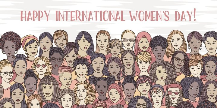 Banner for international women's day - a variety of women's faces from all over the world, diverse group of hand drawn women