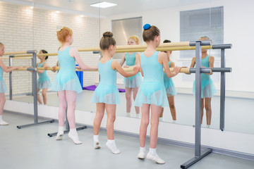Little girls practicing ballet in studio near barre. Concentrating on exercise, view from back.