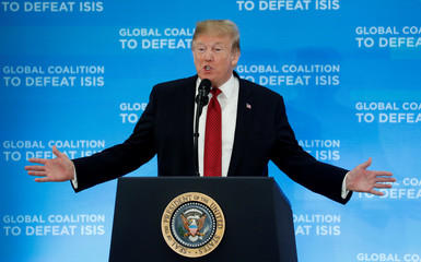 Trump addresses a gathering of foreign ministers aligned toward the defeat of Islamic State in Washington