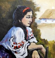 Paintings rural  landscape, ukrainian girl, old village