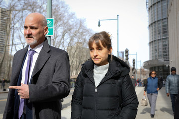 Actress Allison Mack, departs the Brooklyn Federal Courthouse, following a hearing regarding sex trafficking and racketeering related to the Nxivm cult in New York
