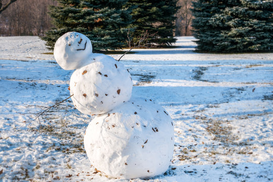 A big lopsided, leaning snowman, evergreens in the blurred soft focused background, copy space.