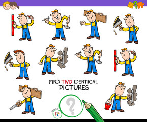 find two identical builders game for kids