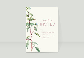 Invitation Layout with Botanical Accents