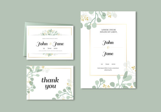 Wedding Invitation with Botanical Accents