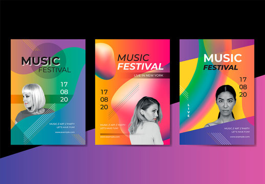 Music Festival Poster Layouts Set