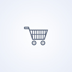 Shopping cart, vector best gray line icon