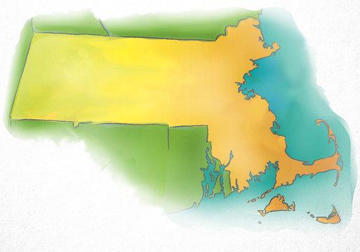 Massachusetts USA Watercolor Map