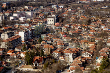 OVECH, BULGARIA -15 January 2019: Spectacular aerial panorama of provincial town of Ovech, Provadia, Bulgaria, made from top of the rock of medieval fortress of Ovech. View overlooking town
