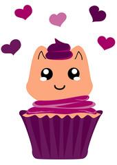 niedlicher Cupcake mit Kätzchen im Kawaii Stil. Vektor Datei Eps 10