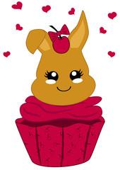 niedlicher Cupcake mit Kirschen und Häschen im Kawaii Stil. Vektor Datei Eps 10