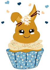 niedlicher Vanille-Cupcake mit Häschen im Kawaii Stil. Vektor Datei Eps 10