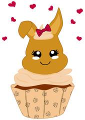 niedlicher Haselnuss Cupcake mit Häschen im Kawaii Stil. Vektor Datei Eps 10